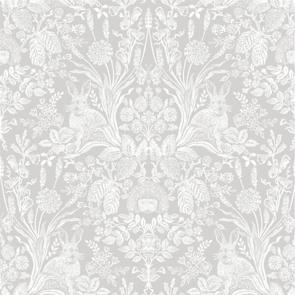 Holden Decor Harlen Damask Smooth  Grey Wallpaper