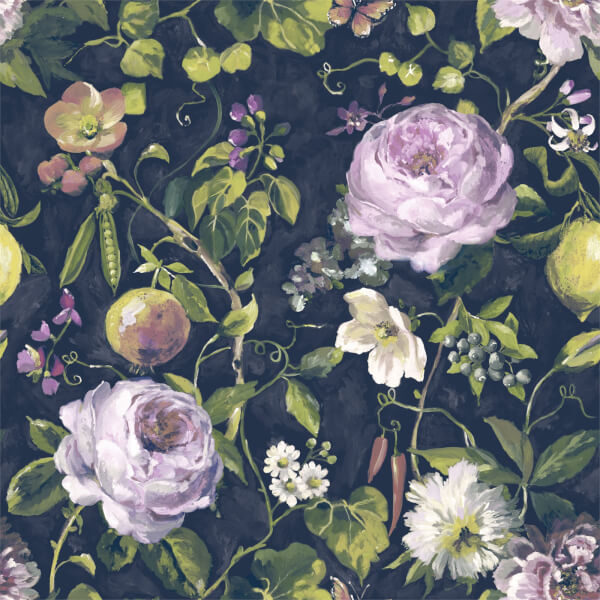 Holden Decor Viola Floral Smooth  Navy and Green Wallpaper