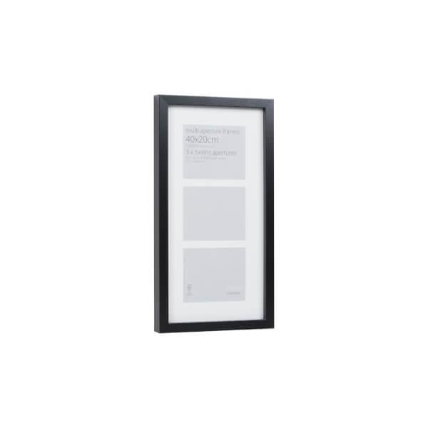 Multi Aperture Photo Frame Block Black 40 x 20cm