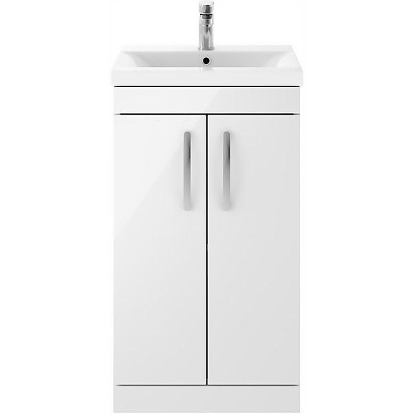 Balterley Rio 500mm Freestanding 2 Door Vanity With Basin 1 - Gloss White