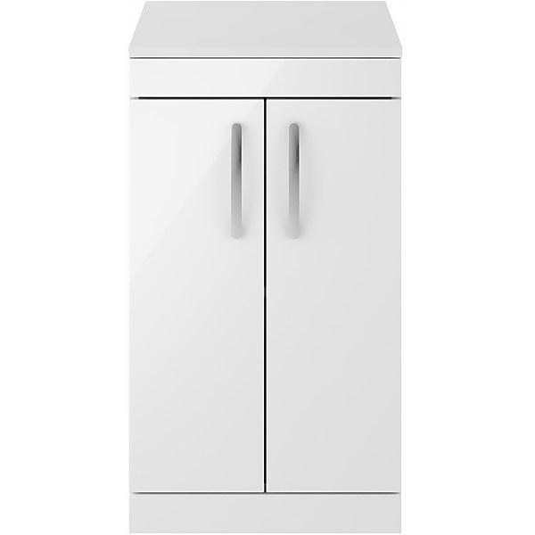 Balterley Rio 500mm Freestanding 2 Door Vanity With Worktop - Gloss White