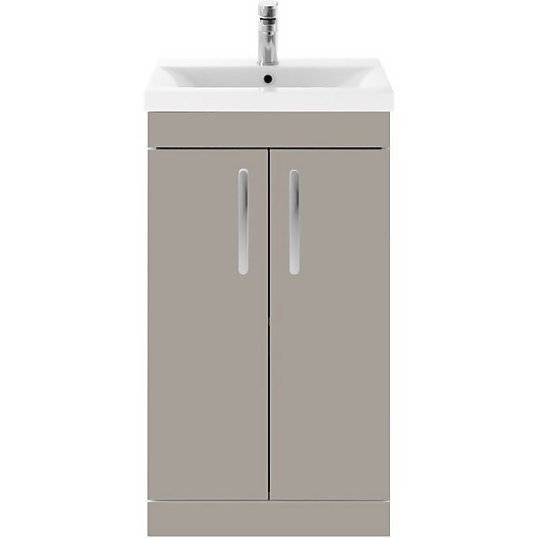 Balterley Rio 500mm Freestanding 2 Door Vanity With Basin 1 - Stone Grey