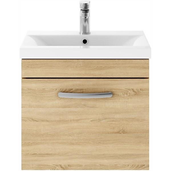 Balterley Rio 500mm Wall Hung Single Drawer Vanity With Basin 1 - Natural Oak