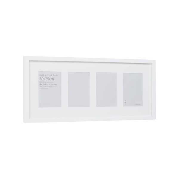 Multi Aperture Photo Frame Block White 60 x 25cm