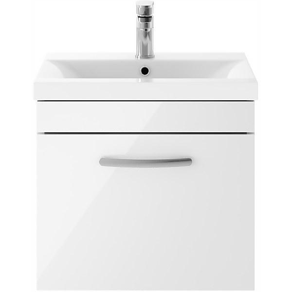 Balterley Rio 500mm Wall Hung Single Drawer Vanity With Basin 1 - Gloss White