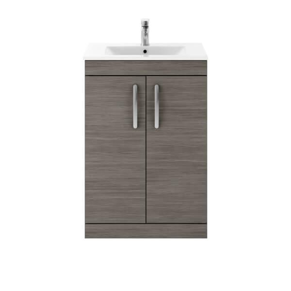 Balterley Rio 600mm Freestanding 2 Door Vanity With Basin 2 - Grey Avola