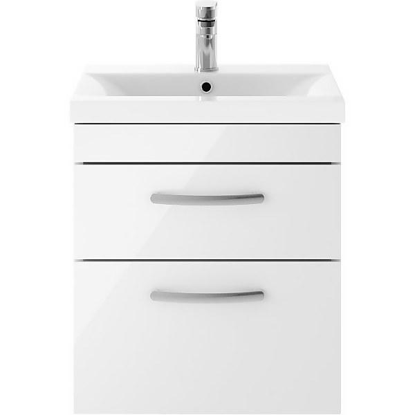 Balterley Rio 500mm Wall Hung 2 Drawer Vanity With Basin 1 - Gloss White