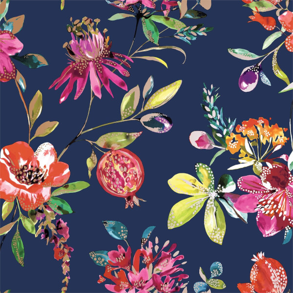 Holden Decor Punica Floral Smooth Metallic Navy Wallpaper