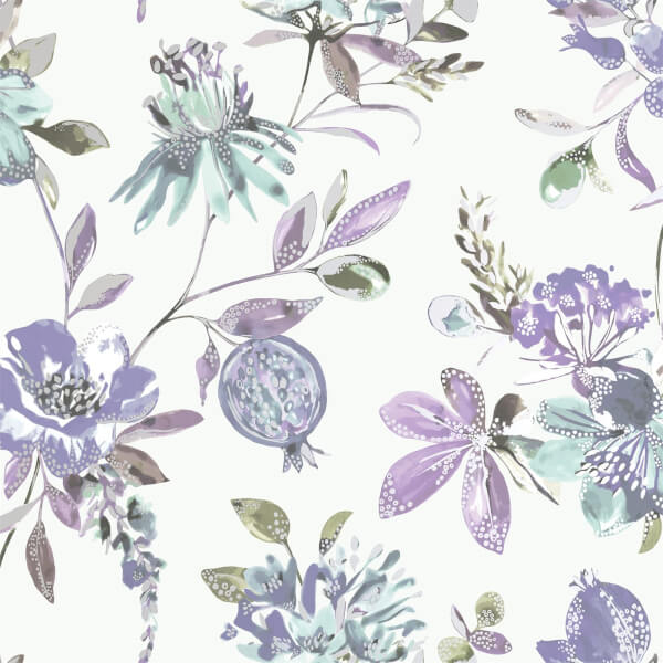 Holden Decor Punica Floral Smooth Metallic Heather Wallpaper