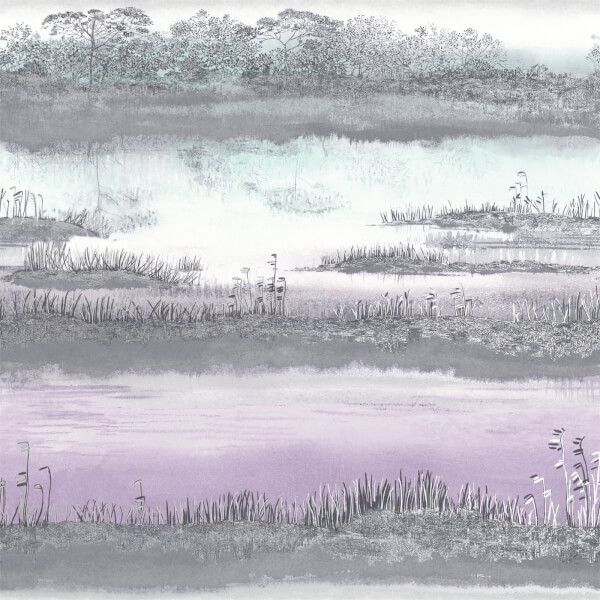 Holden Decor Aaru Watercolour Sunset Smooth Metallic Heather and Teal Wallpaper