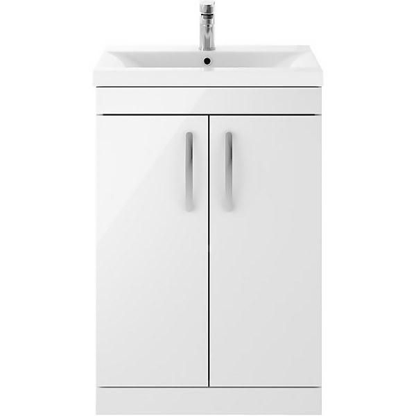 Balterley Rio 600mm Freestanding 2 Door Vanity With Basin 1 - Gloss White