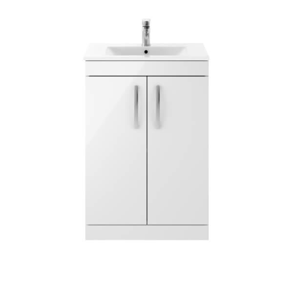 Balterley Rio 600mm Freestanding 2 Door Vanity With Basin 2 - Gloss White