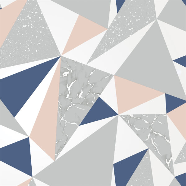 Holden Decor Glacier Geometric Smooth Metallic Navy and Coral Wallpaper