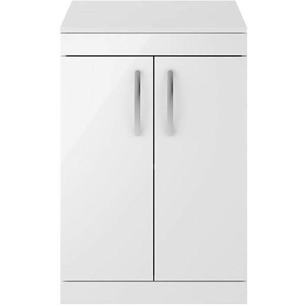 Balterley Rio 600mm Freestanding 2 Door Vanity With Worktop - Gloss White