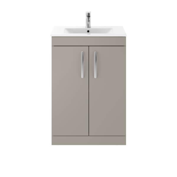Balterley Rio 600mm Freestanding 2 Door Vanity With Basin 2 - Stone Grey