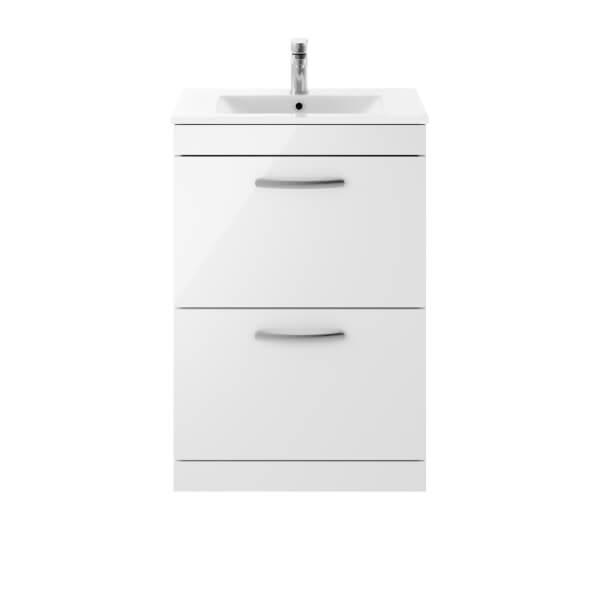 Balterley Rio 600mm Freestanding 2 Drawer Vanity With Basin 2 - Gloss White