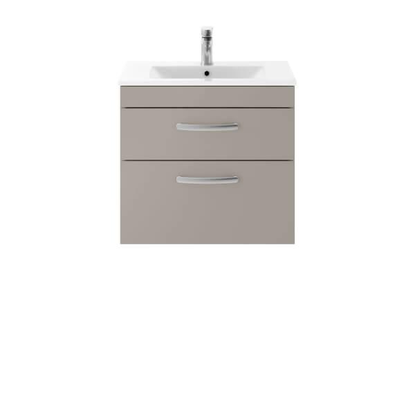 Balterley Rio 600mm Wall Hung 2 Drawer Vanity With Basin 2 - Stone Grey