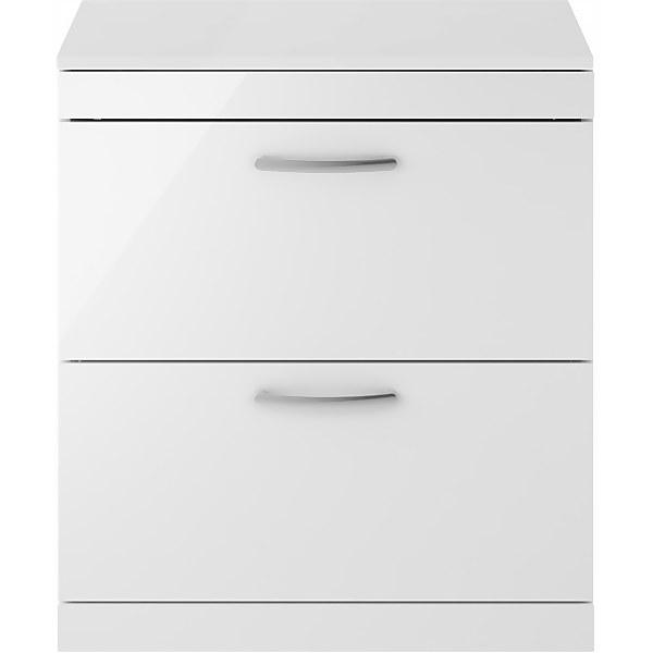 Balterley Rio 800mm Freestanding 2 Drawer Vanity With Worktop - Gloss White