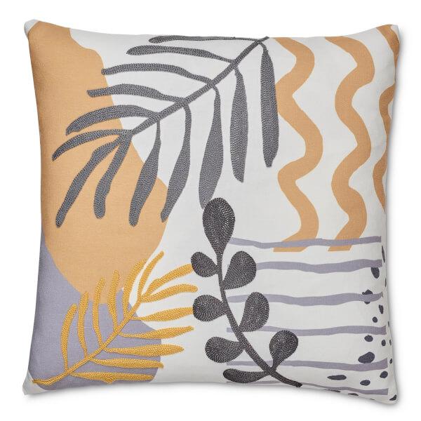 Embroidered and Print Leaf Cushion - Ochre & Grey