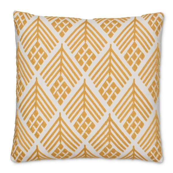 Embroidered Crewel Work Cushion - Ochre