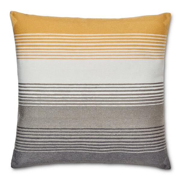 Striped Cushion - Ochre and Grey
