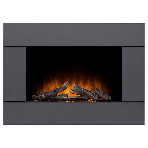 Adam Colemere Electric Wall Mounted Fire in Black with Remote