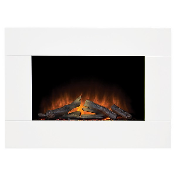 Adam Whitemere Electric Wall Mounted Fire in White with Remote