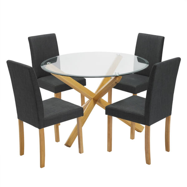 Oporto 4 Seater Dining Set - Anna Dining Chairs - Grey
