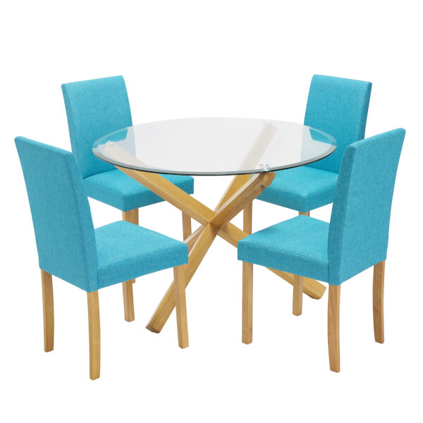 Oporto 4 Seater Dining Set - Anna Dining Chairs - Teal