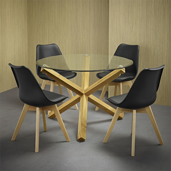 Oporto 4 Seater Dining Set - Louvre Dining Chairs - Black