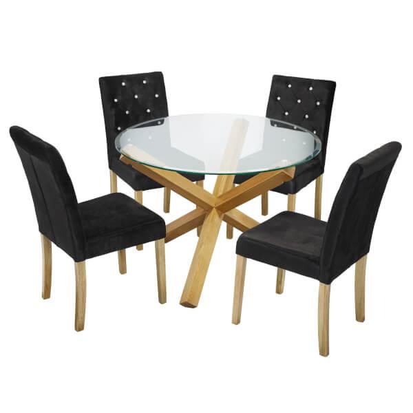Oporto 4 Seater Dining Set - Paris Dining Chairs - Black