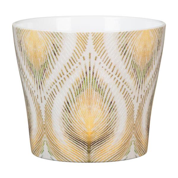 Peacock Yellow Ceramic Cover Pot 11cm