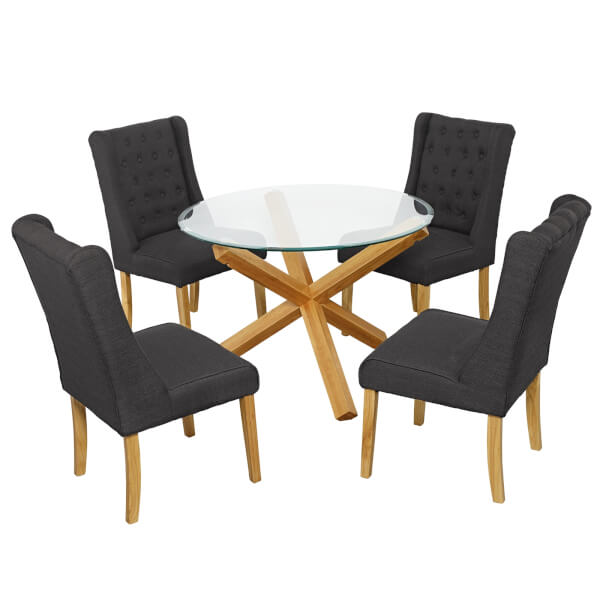 Oporto 4 Seater Dining Set - Verona Dining Chairs - Grey