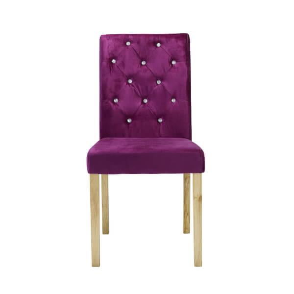 Paris Velvet Dining Chair - Purple - Set of 2