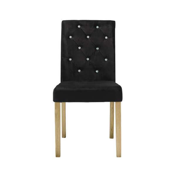 Paris Velvet Dining Chair - Black - Set of 2
