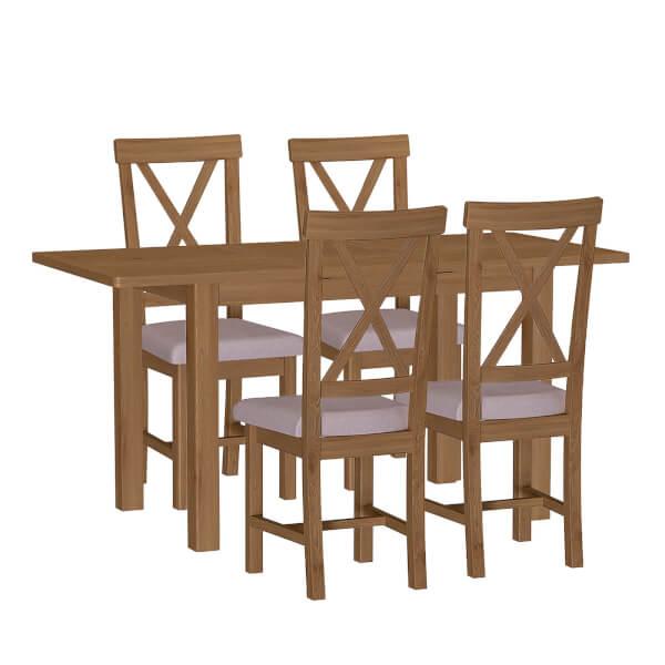 Newlyn 1.2m Extending 4 Seater Dining Set - Oak