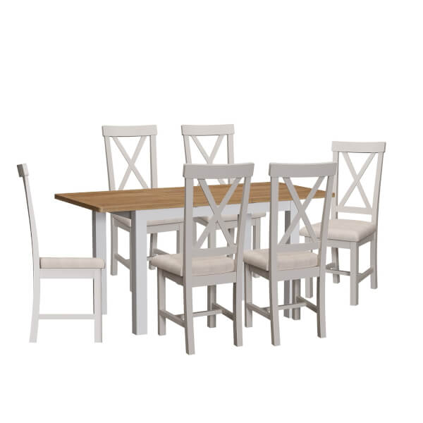 Padstow 1.2m Extending 6 Seater Dining Set - Grey