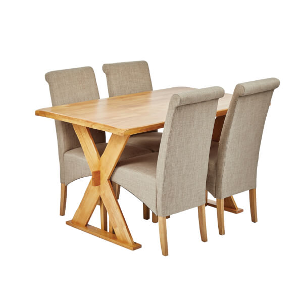Seville 4 Seater Dining Set - Amelia Dining Chairs - Beige