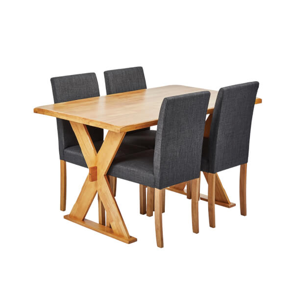 Seville 4 Seater Dining Set - Anna Dining Chairs - Grey