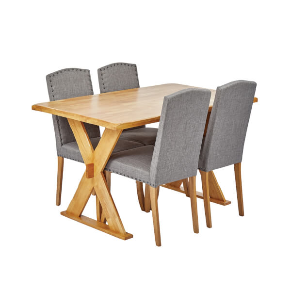 Seville 4 Seater Dining Set - Evesham Dining Chairs - Grey