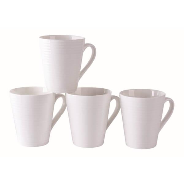New Bone China Mugs - White - Set of 4