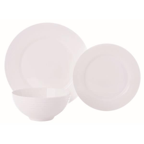 New Bone China Embossed Dinner Set - White - 12 Pieces