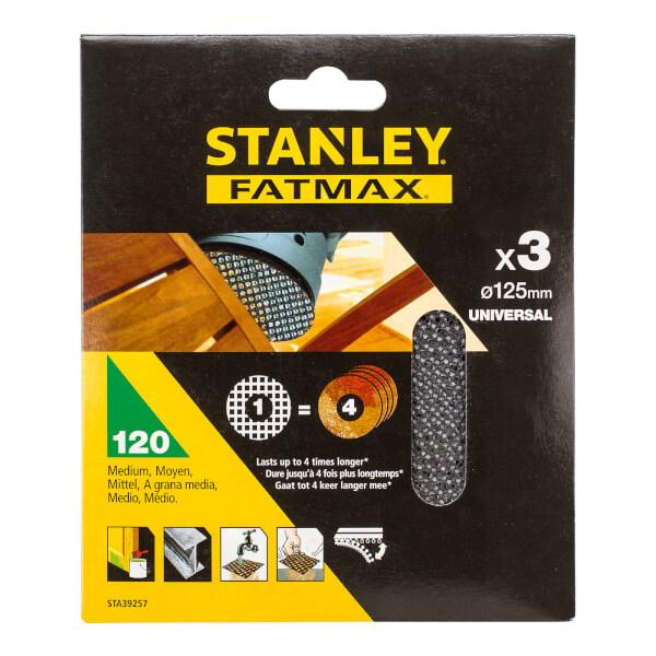 STANLEY FATMAX - 3x 120g Quick Fit Random Orbital Sanding Mesh Discs 125mm
