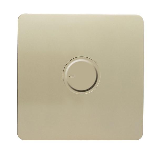 Trendi Switch 1 Gang 200 Watt Dimmer Light Switch in Screwless Gold