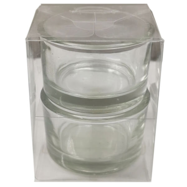 Clear Tealight Candle Holders - 2 Pack