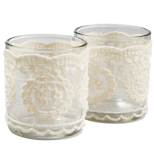 Set of 2 Tealight Candle Holders - Lace