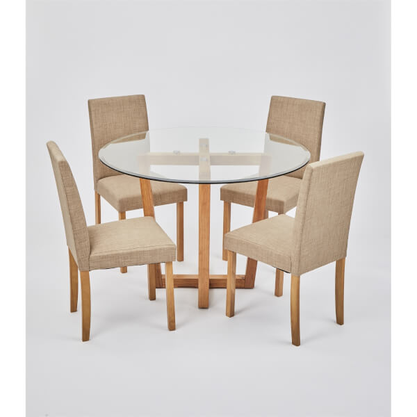 Valencia 4 Seater Dining Set - Anna Dining Chairs - Beige