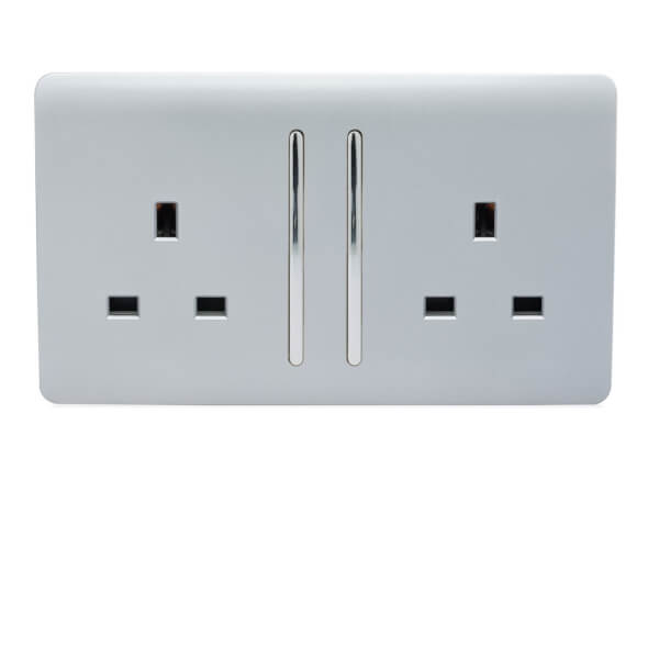 Trendi Switch 2 Gang 13 amp long switched Plug Socket in Screwless Silver