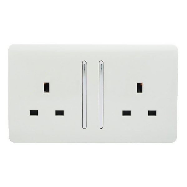 Trendi Switch 2 Gang 13 amp long switched Plug Socket in Screwless White