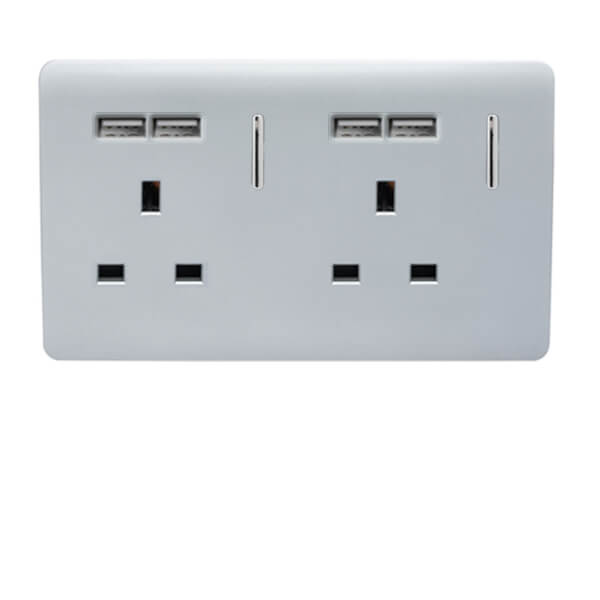 Trendi Switch 2 Gang 13 amp short switched Plug 4x USB Socket in Screwless Silver